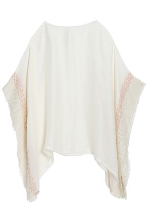 RAG & BONE Fringe-trimmed open-knit poncho