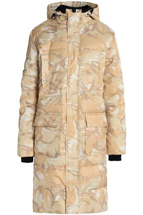 GANNI Printed quilted shell hooded coat