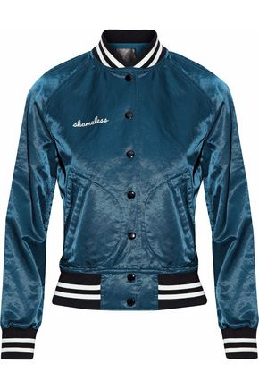 R13 Appliquéd satin bomber jacket