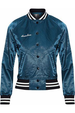 R13 Appliquéd satin bomber jacket