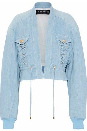 BALMAIN Cropped lace-up denim jacket