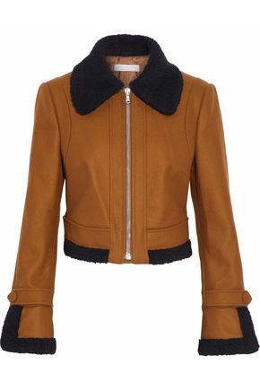 PHILOSOPHY di LORENZO SERAFINI Bouclé-trimmed brushed wool-bend jacket