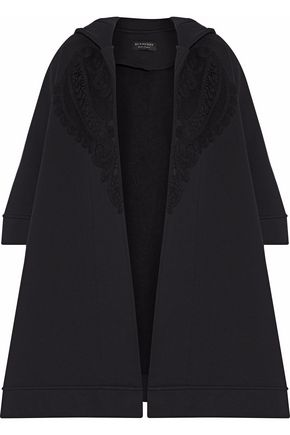 BURBERRY Lace-appliquéd cotton-blend hooded poncho