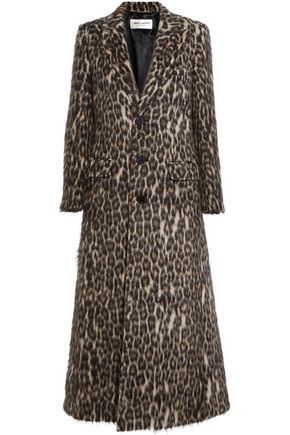 SAINT LAURENT Leopard-print brushed knitted coat