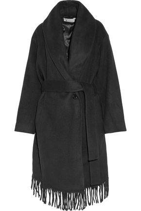T by ALEXANDER WANG Belted fringed felt coat