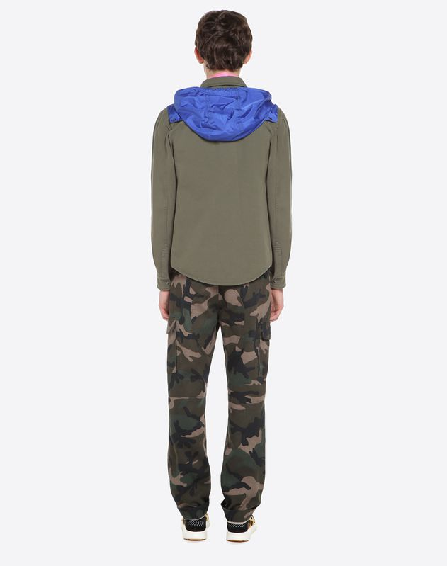 Outerwear shirt with nylon hood