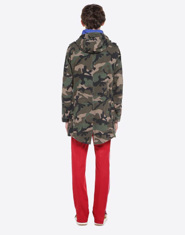 Hooded camouflage parka