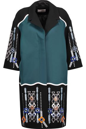 PETER PILOTTO Paneled embellished embroidered wool-crepe and faille coat