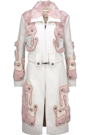 PETER PILOTTO Embroidered mohair and cotton-blend faux fur-paneled wool-crepe coat