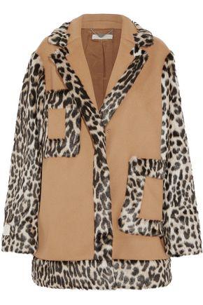 STELLA McCARTNEY Asti paneled leopard-print faux fur and wool-blend coat