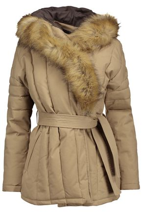 MAJE Galo faux fur-trimmed cotton-blend twill hooded coat