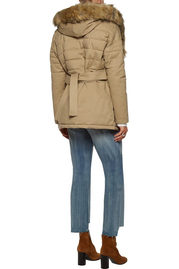 Galo faux fur-trimmed cotton-blend twill hooded coat | MAJE | Sale up to 70%  off | THE OUTNET