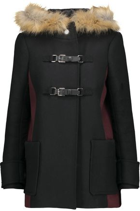 MAJE Faux fur-trimmed wool-blend felt coat