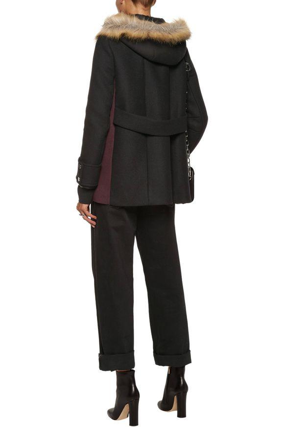 Faux fur-trimmed wool-blend felt coat | MAJE | Sale up to 70% off | THE  OUTNET