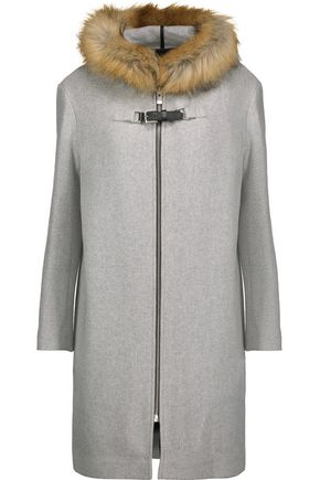 MAJE Grafo faux fur-trimmed wool-blend felt hooded coat