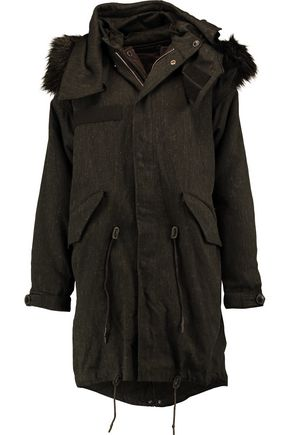 IRO Faux fur-trimmed padded canvas parka