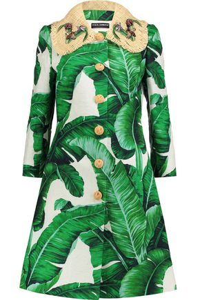 DOLCE & GABBANA Raffia-trimmed printed cotton-blend brocade coat