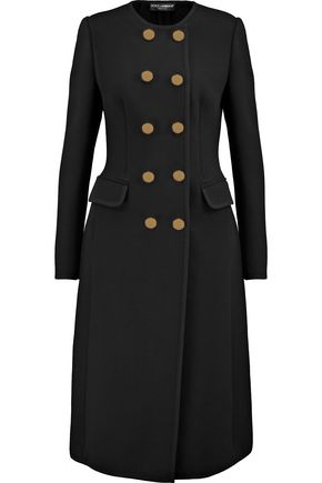 DOLCE & GABBANA Crepe-trimmed wool-blend coat