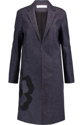 VICTORIA, VICTORIA BECKHAM Appliquéd textured-denim coat