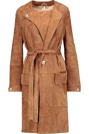 HELMUT LANG Belted suede coat