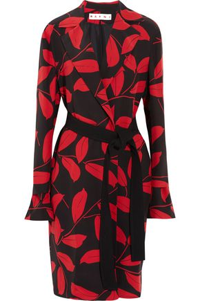 MARNI Printed silk crepe de chine coat