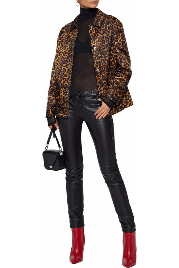 Leopard-print satin jacket | ALEXANDER WANG | Sale up to 70% off | THE  OUTNET