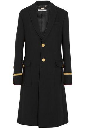 GIVENCHY Coat in velvet-trimmed black wool-piqué