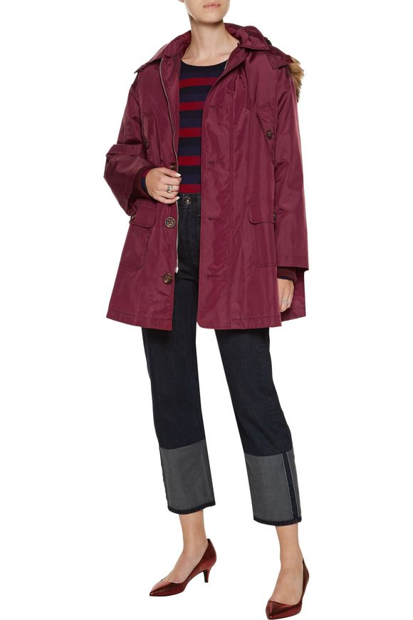 Faux fur-trimmed shell hooded coat | REDValentino | Sale up to 70% off |  THE OUTNET