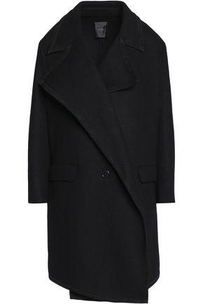 AGNONA Suede-trimmed cashmere coat