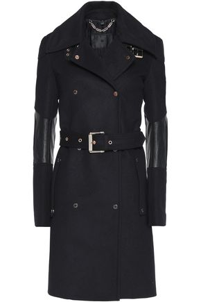 BELSTAFF Hadlow leather-trimmed wool and cashmere-blend felt coat