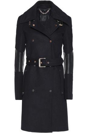 BELSTAFF Hadlow leather-trimmed wool and cashmere-blend felt coat