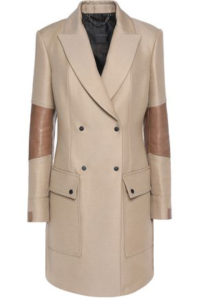 BELSTAFF Andover leather-trimmed wool and cotton-blend coat