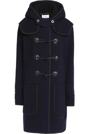 CARVEN Faux leather-trimmed wool-blend felt hooded coat