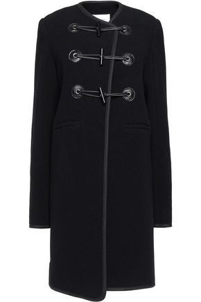 CARVEN Faux leather-trimmed wool-blend felt coat