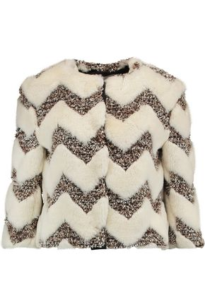 AINEA Paneled faux fur and bouclé cropped jacket