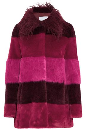AINEA Striped faux fur coat