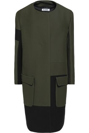 JIL SANDER Two-tone wool and silk-blend twill coat