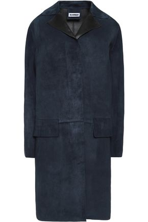 JIL SANDER Leather-trimmed suede coat