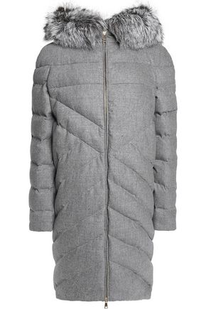 VIONNET Faux fur-trimmed hooded quilted wool and cashmere-blend coat