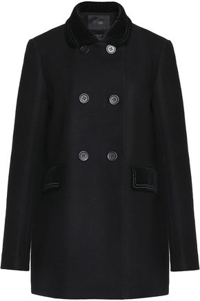 MAJE Galakie double-breasted cotton-blend velvet-trimmed wool-blend felt coat