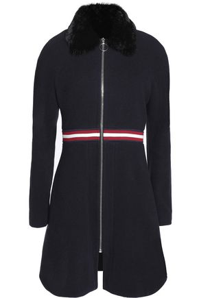 MAJE Faux fur-trimmed wool-blend felt coat