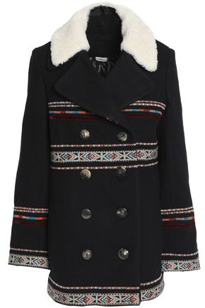 TALITHA Embroidered wool-blend coat