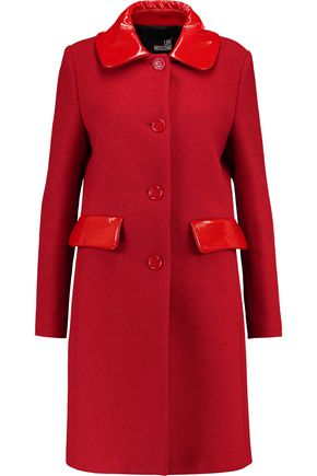 LOVE MOSCHINO Faux patent leather-trimmed knitted coat