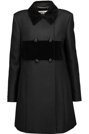 SAINT LAURENT Velvet-paneled wool and silk-blend faille coat