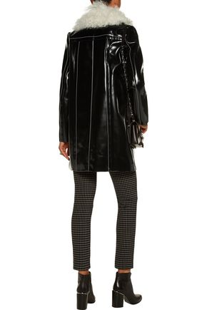 PROENZA SCHOULER Shearling-trimmed glossed faux leather coat