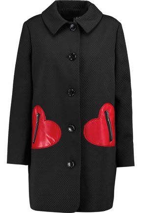 LOVE MOSCHINO Faux leather-paneled jacquard coat