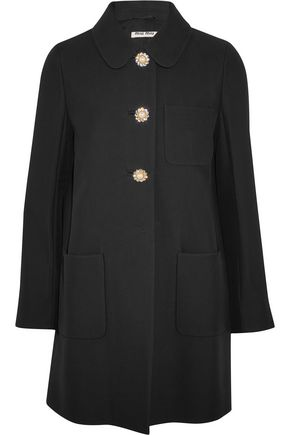 MIU MIU Embellished crepe coat