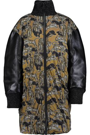 JUST CAVALLI Printed padded shell down and faux leather jacket
