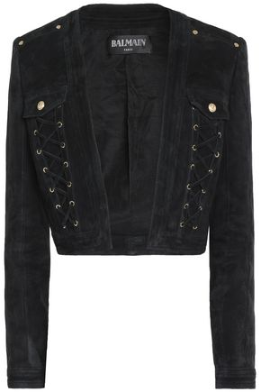BALMAIN Lace-up fringed suede jacket