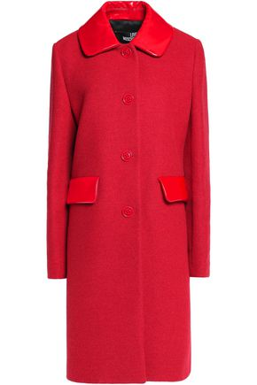 LOVE MOSCHINO Faux leather-trimmed felt-jacquard coat